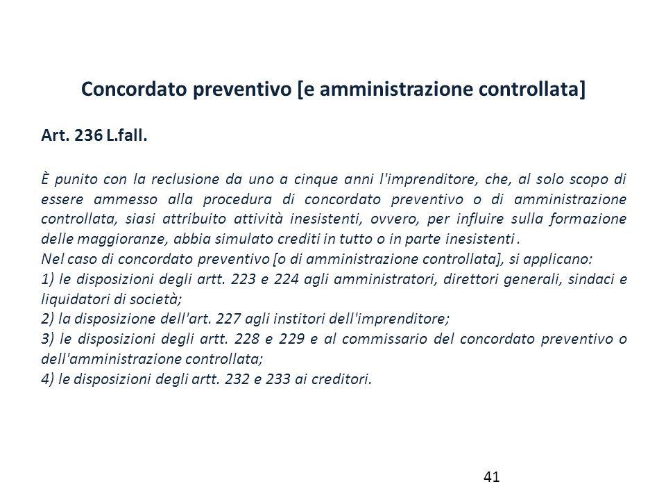 Concordato preventivo [e amministrazione controllata]